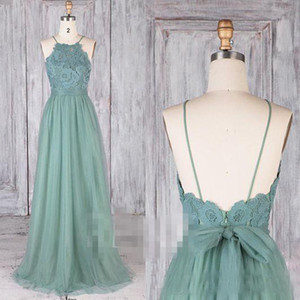 Modest Dusty Green Green Drawsmaid Vestidos Lace Illusion Long Tulle A-Linha Backless Vestidos Formal Festa Lace Modest Maid of Honor Vestidos