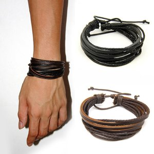 Hot Sale Male Fashion Mens Bracelets Five Wax Ropes Handmade Leather Brown Color Bracelet Drop for Men