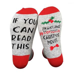 Erkekler Kadınlar Tatil Noel SALONU İŞARETİ Casual Harfler Çorap Noel Long için Çorap