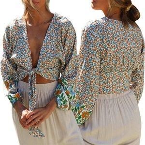 إمرأة V الرقبة مثير انن بلايز كم طويل زهري طباعة أزياء الصيف الجديدة نمط الملابس أنثى
