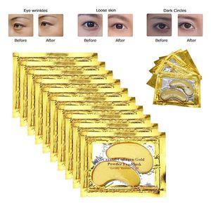 Ouro 24k Crystal Eye máscara de colágeno Patches Anti Aging olheiras Máscaras Puffiness Hidratante gel olho Pads para sob os olhos Sacos