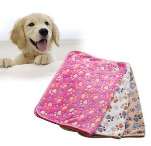 Suave y cálida impresión de la pata pequeña mascota perro gato manta cama estera perreras bolígrafos alta absorbente limpieza secado toalla de baño producto para mascotas 40 * 60 cm