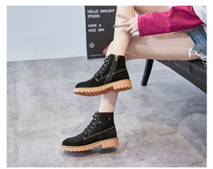 Hot Sale- and winter new European and American retro Martin boots female leather couple plus velvet booties boot flat locomotive shoes