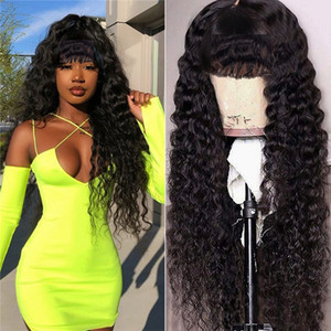 Ishow Hair Loose Deep Straight Human Hair Wigs with Bangs Peruvian Curly None Lace Wigs Indian Hair Malaysian Body Wave