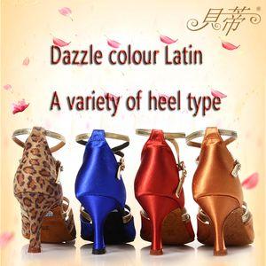 Смешанные оптовые танцевальной обуви латинский танец обувь завод Outlet 10Pair / LOT Free на заказ цветов и размеров каблука Женская обувь