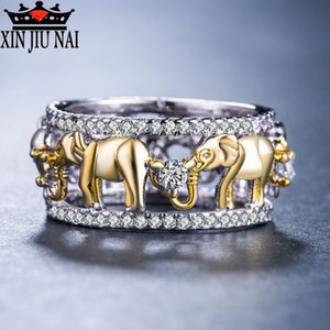 Luxurious Pure Copper Antique Gold Color Lucky 3D Africa Elephant Ring Romantic Zircon Ring For Man Woman Ball Party Jewelry