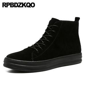 Yüksek Sole Siyah Kalın Soled Sneakers Ayakkabı Süet Kürk Bilek Üst Düz Trainer Platformu Patik Erkek Kış Boots Ayakkabı