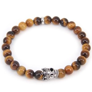HEMISTON Style Tigereye Bead Bracelet Rebel Heart Skull Bracelet For Men Women width 0.8CM Gift