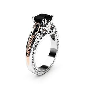 Bague de fiançailles princesse Black Diamond en or rose 14K et en argent 925sterling Taille5-12