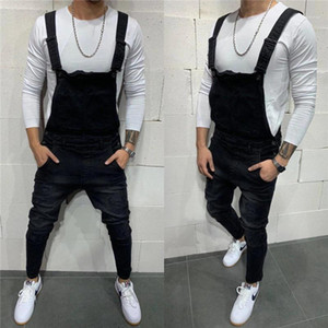 Denim Overalls Mode Loch Slim Fit-Bleistift-Hosen Männer beiläufige Designer Jeans Mens Solid Color