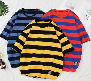 캐주얼 스트라이프 반팔 T 셔츠 여름 통기성 패션 크루 넥 티 남성 느슨한 대비 색 T 셔츠를 망