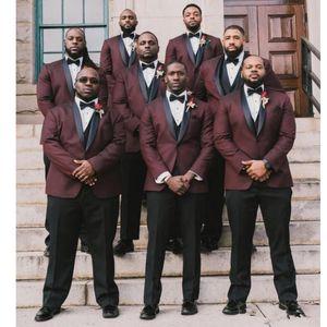 Costumbre Borgoña 3 Piezas padrinos de trajes de hombre para casarse de los trajes de boda smokinges del vestuario Homme mariage