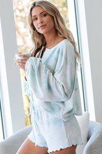 DHL Free For Pijama Tiedye Para Womens Crew Neck Tie Dye Pajama curta Define Set Tie Dye Pijama cópia floral em PCoPm estoque newclipper