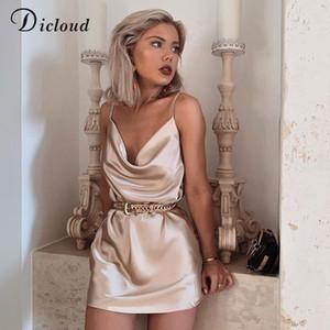 DICLOUD Sexy Champane Satin-Partei-Kleid-Nachtclub-Frauen-Sleeveless Sommer Sundress eine Linie Fest, figurbetontes Kleid weiblich