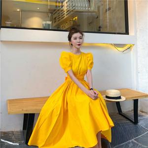 2019 Moda Feminina Puff Sleeve Casual Vestido Arco De Cintura Alta Midi Vestido Sólido Irregular Inferior Elegante