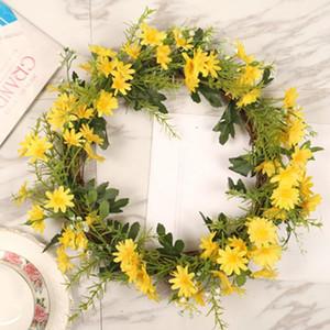 1pc 35cm realistische Simulation Rattan Sonnenblume Kranz Tür Blumenkranz Hauptdekor Hochzeit