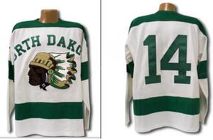 Real de los hombres reales bordado completo 1954 de Dakota del Norte Sioux Jersey Hombres cosido Fighting Sioux DAKOTA Jersey o encargo cualquier nombre o el número del jersey