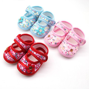 Infant baby girls Shoes Baby Kids Flower Floral Printed Prewalker Cotton Soft sole Newborn First walkers Fabric Shoes#4