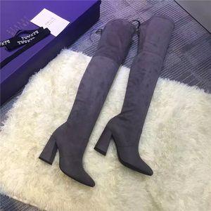 Diz çizme Fock üzerinde Sıcak Satış-Lastest ve moda süet tıknaz topuk ayak parmakları siyah gery haki bordo dört renk çizme sivri