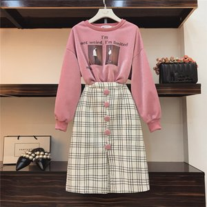 Women S Designer 2 Piece Sets Sweatshirt Casual And Plaid Woolen Piece Set Fall Portrait Print Bright Silk Pullovers And Skirt Suits