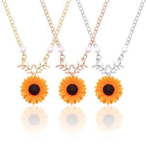 Yeni Moda Ayçiçeği İnci Kolye Sun Flower Yapraklar kolye kolye Sunshine Kadın Kız Üç Renk Takı