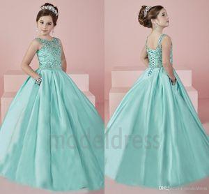 New Shinning Mädchens Pageant Kleider 2019 Sheer Neck Perlen Kristall Satin Minzen-Grün-Blumen-Mädchen-Kleid-formale Partei-Kleid für Jugendliche Kinder
