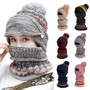 Fashion Woman Knit Hat and Scarf Set Hairball Pom Hats Female Thick Winter Warm Cute Girls Collar Warm Earmuffs