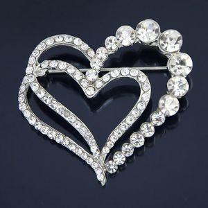 Ma'am placcato oro placcato amore diamante brooch regalo cuore a forma di spilla del rhinestone pesca grazie ago