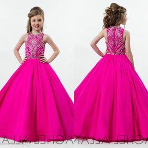 2020 Hot Fuchsia Princess Girls Pageant Dresses for Teens бисероплетение горный хрусталь длина пола цветок дети формальная одежда платье на День Рождения BC0187
