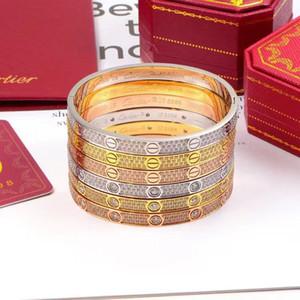 Diseñador de las mujeres de las pulseras de titanioCartierde lujo de joyas de amor eterno de oro pulsera de diamante de Rose vacío chapado en oro verdadero nunca se desvanecen