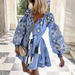 Püskül Sashes Mini Elbiseler Kadın Yaz Sonbahar Seksi V Yaka Boho Elbise 2019 Yeni Bohemian Çiçek Baskılı Plaj Elbise Vestidos