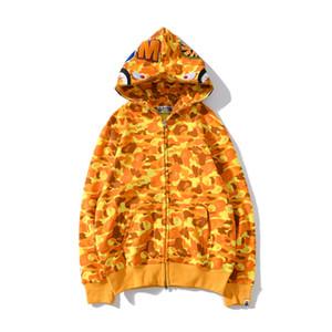 Neue Ankunfts-Herbst-Winter-Teenager orange Camo Hip Hop Kapuzenpullover Hoodies Männer Casual Voll Zipper CardiganHoodies
