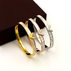 Hot sale Top quality Jewelry shell Letter V hollow stainless steel bracelet fashion 18K rose gold bracelet titanium gold V Bracelet gift