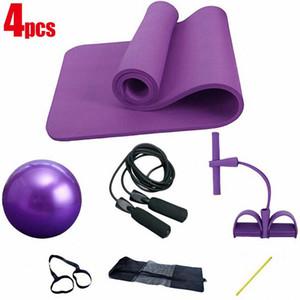 4 Piece Yoga Pilates Set Kit 10mm de espessura NBR Yoga Mat 25 centímetros Pilatos bola pular corda Mat Set Início Training Exercise Equipment
