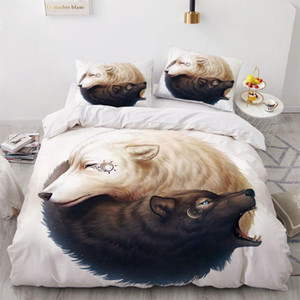 3D Animal Yin Yang Design Bed Linen Comforter Quilt Cover Bedding Set Double King Queen Double Single Size Bear Home Textile