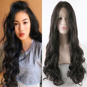 Dark Brown Body Wave Synthetic Lace Front Wig Glueless Heat Resistant Fiber Hair Natural Hairline for White Women Wigs