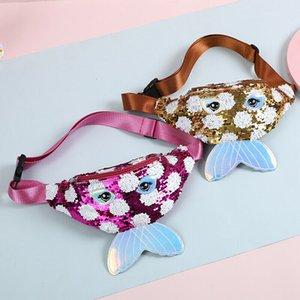 Childrens Baby Girls Sequin Belt Waist Bag One Shoulder Crossbody Bag Kid Cartoon Chest Bag