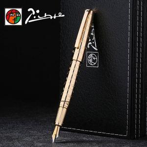 Picasso di lusso completa Iraurita metallo fontana penne a inchiostro della penna 0.5mm Dolma Kalem Penna di cancelleria Penne firma 1040 T200115