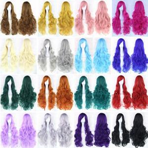 20 cores onduladas peruca longa peruca de alta temperatura fibra sintética cabelo rosa mulheres negras festa cabelo cosplay wigs