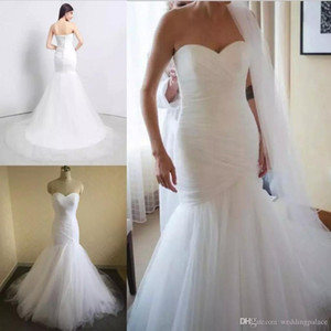 New Arrival Tulle Mermaid Wedding Dresses Lace Up Back Marry Dresses Bridal Dresses Chapel Train Wedding Gowns