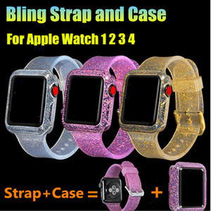 1 conjunto pulseira de glitter com bling watch case para apple watch series 1 2 3 4 pulseira de silicone macio para iwatch 38mm 44mm