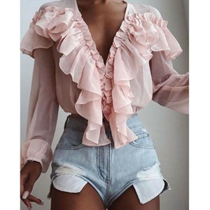 Elegant Women Pink Chiffon Solid Color See-through V-Neck Ruffles Neck Trim Blouse Casual Long Sleeve Loose Top