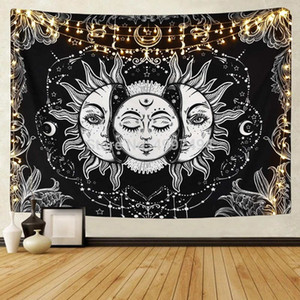 White Black Sun Moon Mandala Tapestry 130*150cm Wall Hanging Celestial Wall Tapestry Hippie Wall Carpets Dorm Decor Psychedelic Tapestry