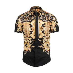 жаркое лето новые мужские рубашки мода Harajuku повседневная рубашка мужчины роскошь Медуза черное золото фантазии 3D печати Slim Fit рубашки