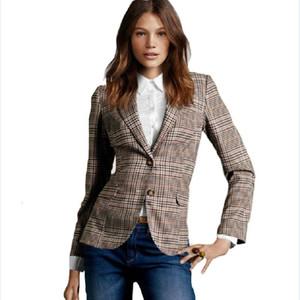 Yeni 2015 Moda Kadın Ekose Dirsek Yamalar İnce Blazer Bayan Sonbahar Suits Temel Ceket Casual Blazer Feminino A360