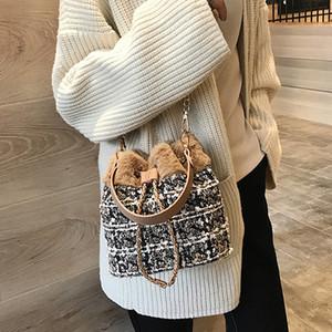 Diseñador de moda mujer paño de lana bolso de lazo cubo bolso bandolera Messenger Crossbody bolsos monederos caliente