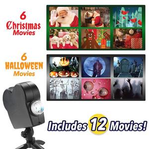 Navidad de Halloween láser proyector de la luz del disco 12 Películas Mini Ventana de cine en casa Proyector de interior al aire libre de las maravillas del proyector