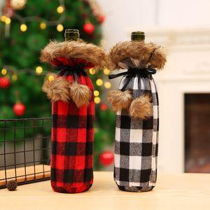 Botella de vino de Navidad cubierta de Champán del vino bolsa de tela escocesa por un partido de la decoración del hogar Decoración de Navidad Suministros HHA706