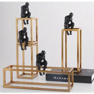 Düşünür Rodin Heykeli Küçük Düşünme Siyah Metal ArtCraft Paslanmaz Çelik Çerçeve Postmodern Ev Süslemeleri