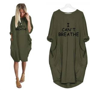 I Can't Breathe Women Letter Printed Dresses Fashion Designer Ladies Dresses Casual Loose Long Sleeve Apparel Summer New